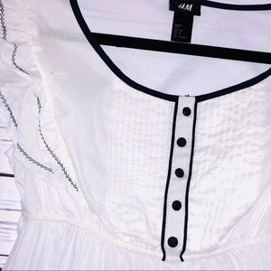 White H&M Blouse with Navy Accents